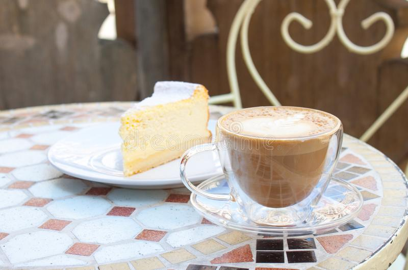 Cappuccino and tofu cheesecake stock photo