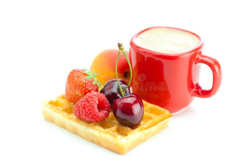 Cappuccino, Waffeln, Aprikose, Kirschen, Erdbeeren lizenzfreies stockbild