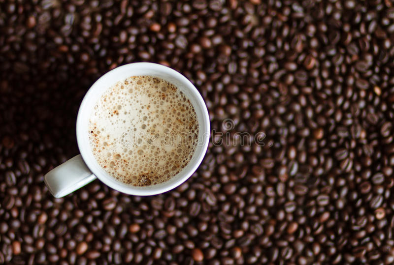 Cappuccino in a white cup stock images