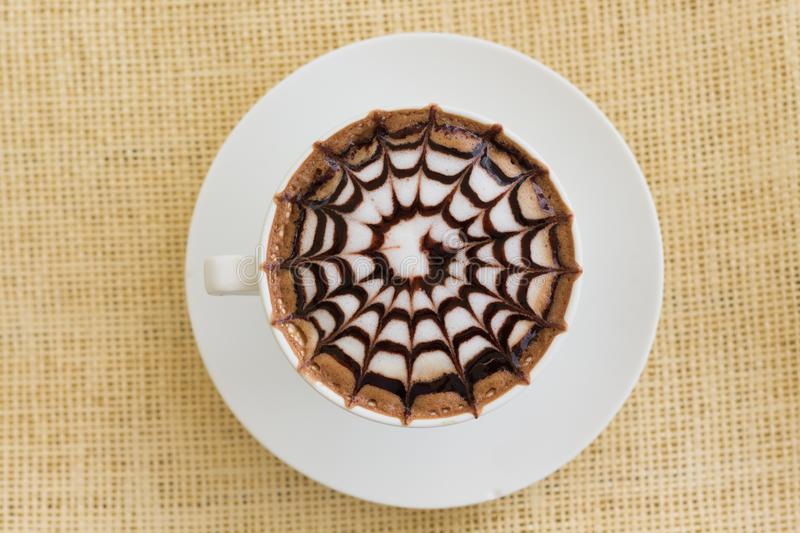 Cappuccino on White Saucer stock photo