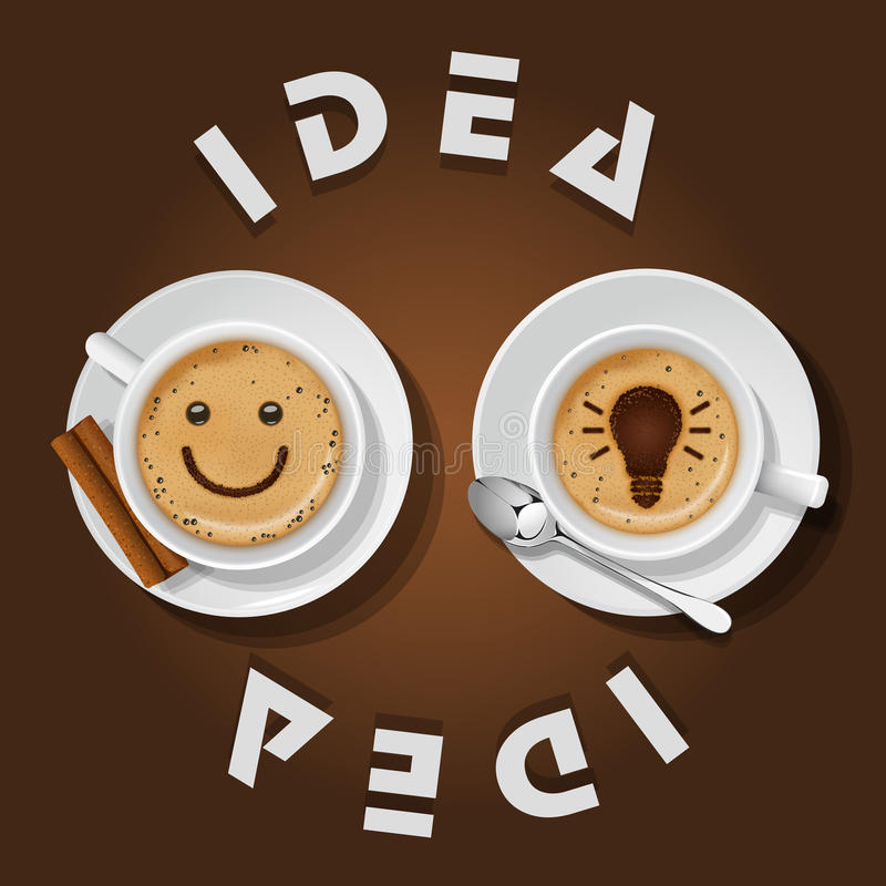 Cappuccinokop met woordenidee stock illustratie