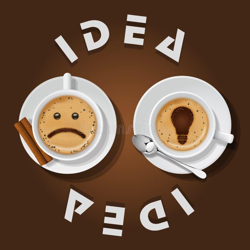 Cappuccinokop met woordenidee royalty-vrije illustratie