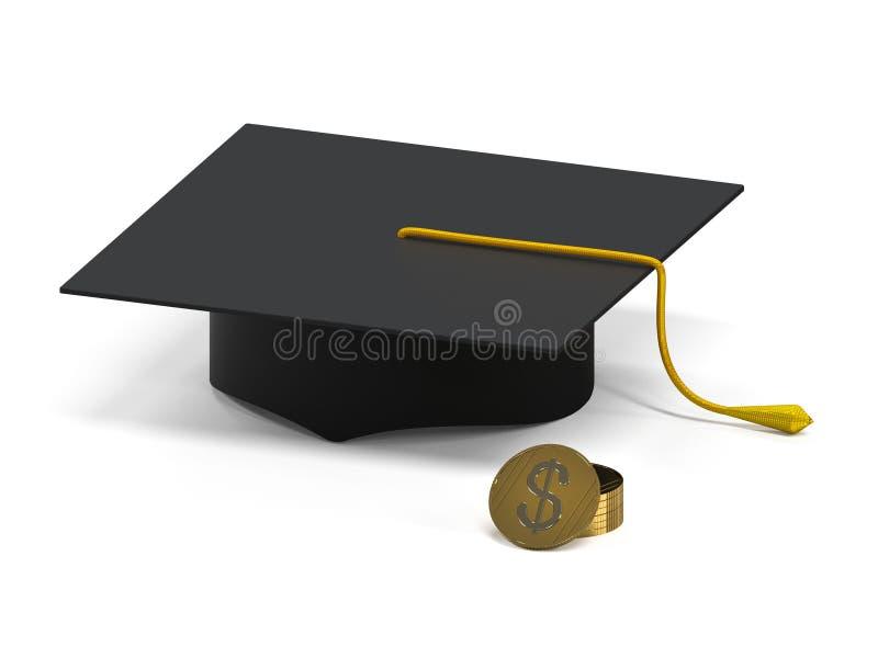Cappuccio accademico con il mucchio delle monete Prospettiva di ricchezza rappresentazione 3d illustrazione di stock