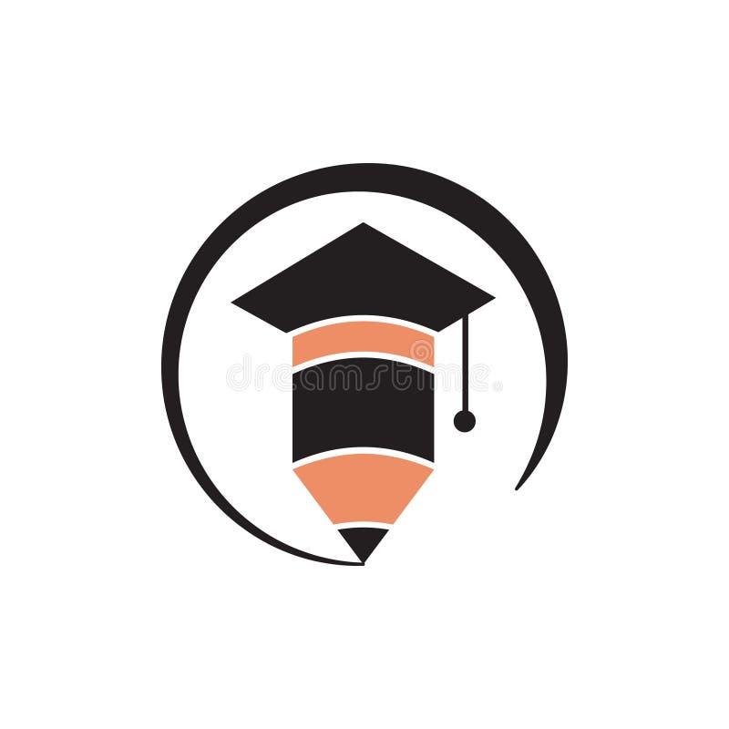 Cappuccio accademico di graduazione del quadrato con il logo di istruzione della matita royalty illustrazione gratis
