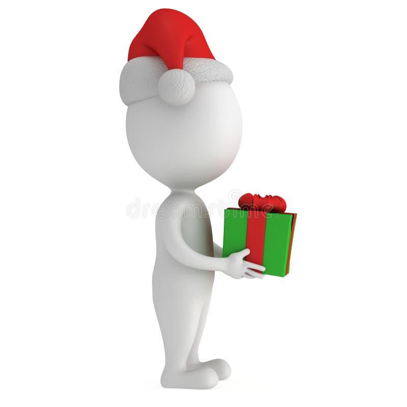 cappuccio bianco di 3d il Babbo Natale con il contenitore di regalo illustrazione di stock
