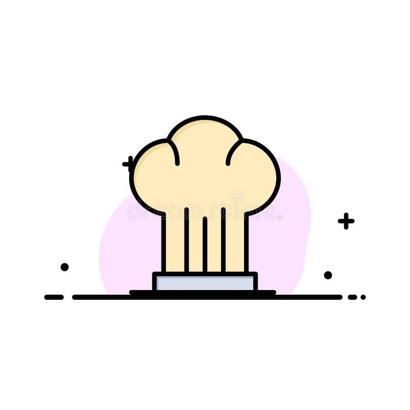 Cappuccio, cuoco unico, fornello, cappello, affare di ristorante Logo Template colore piano illustrazione vettoriale