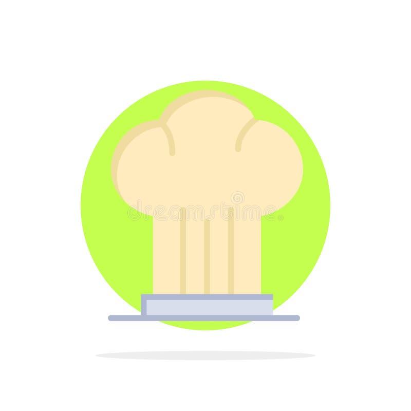 Cappuccio, cuoco unico, fornello, cappello, icona piana di colore del fondo del cerchio dell'estratto del ristorante royalty illustrazione gratis