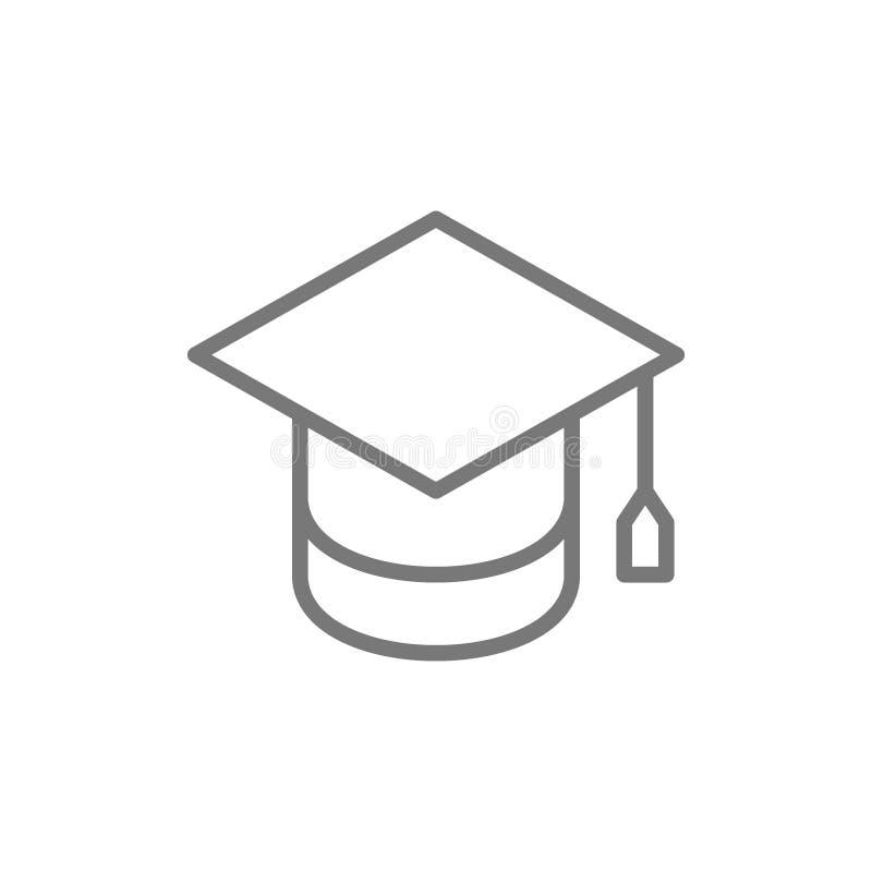 Cappuccio di graduazione, linea icona di istruzione illustrazione vettoriale