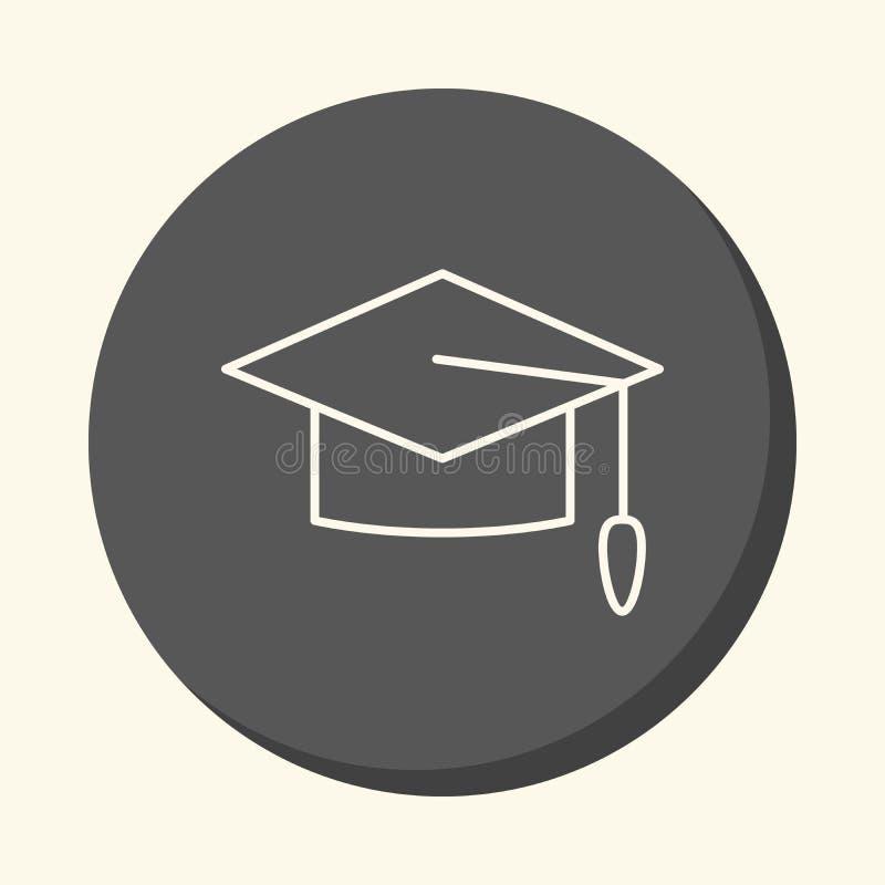 Cappuccio di scuola graduata, icona lineare rotonda con l'illusione del volume, cambiamento semplice di colore illustrazione vettoriale
