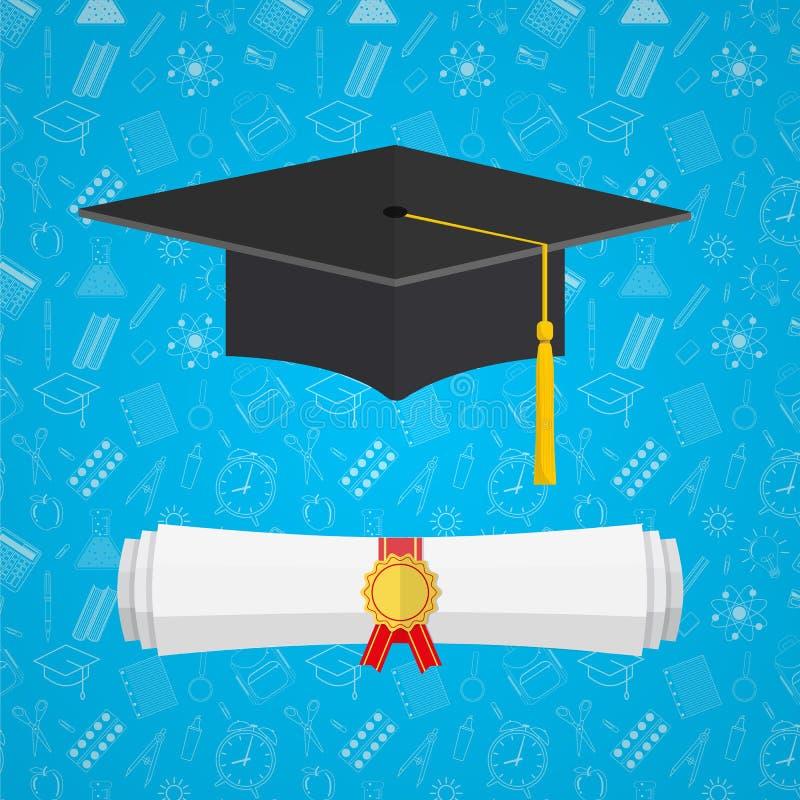 Cappuccio e diploma dello studente universitario illustrazione vettoriale