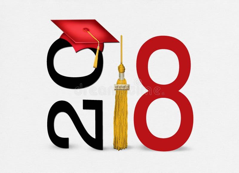 Cappuccio 2018 e nappa di graduazione di rosso fotografie stock libere da diritti