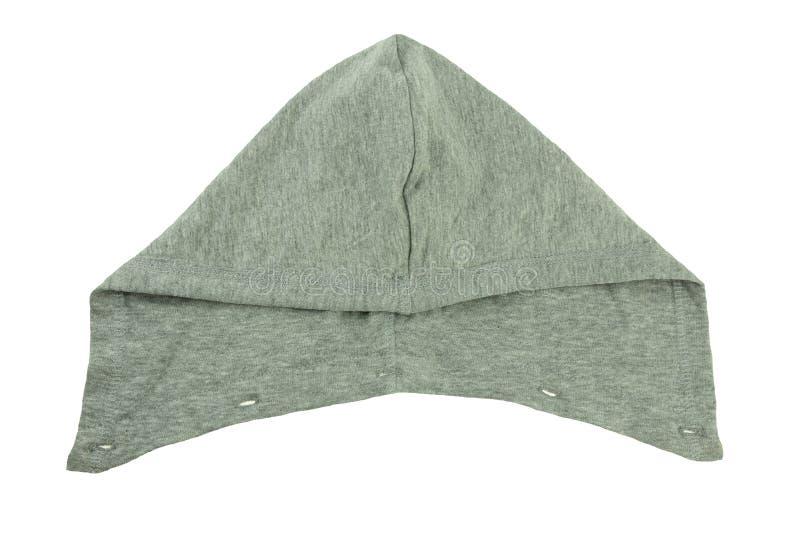 Cappuccio grigio staccabile con gli occhielli come componente della presa delle blue jeans immagini stock