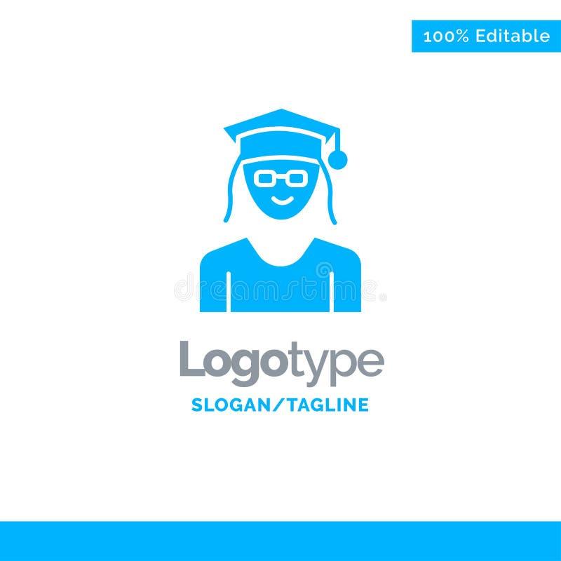 Cappuccio, istruzione, graduazione, donna Logo Template solido blu Posto per il Tagline illustrazione di stock