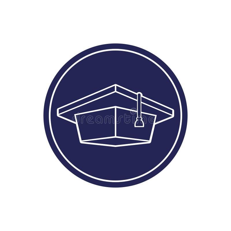Cappuccio laureato, immagine isolata monocromatica in un cerchio illustrazione di stock