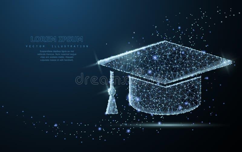 Cappuccio laureato La maglia poligonale del wireframe assomiglia a costellazione Istruzione, università, illustrazione di success royalty illustrazione gratis