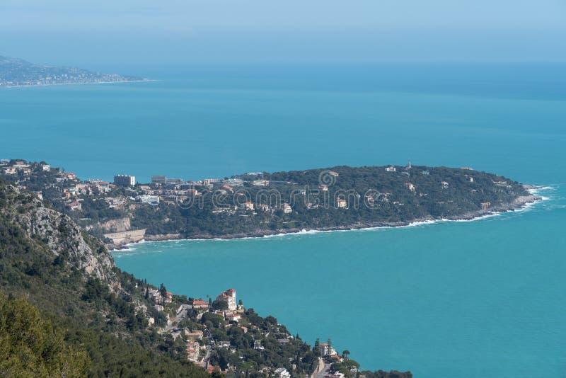Cappuccio Martin, Riviera francese di Roquebrune immagine stock libera da diritti
