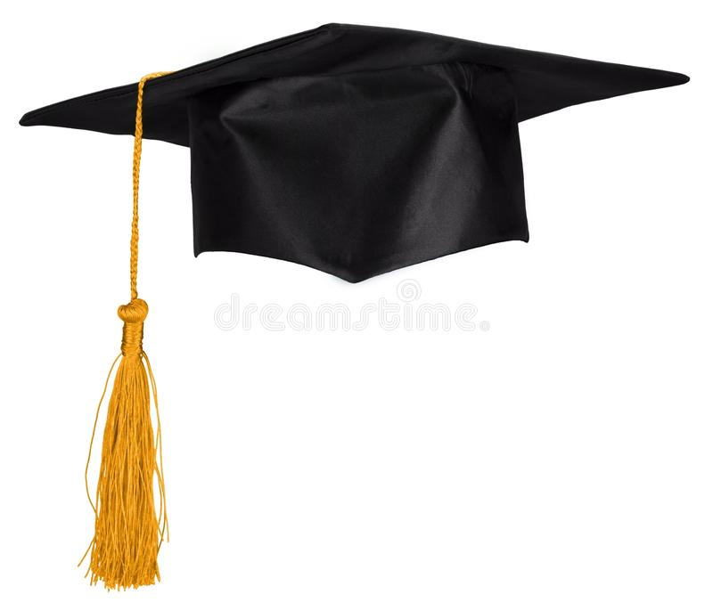 Cappuccio nero di graduazione isolato su fondo bianco immagine stock libera da diritti