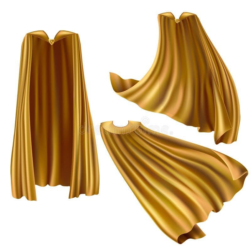 Cappuccio per supereroe d'oro, mantello con perno triangolare illustrazione di stock
