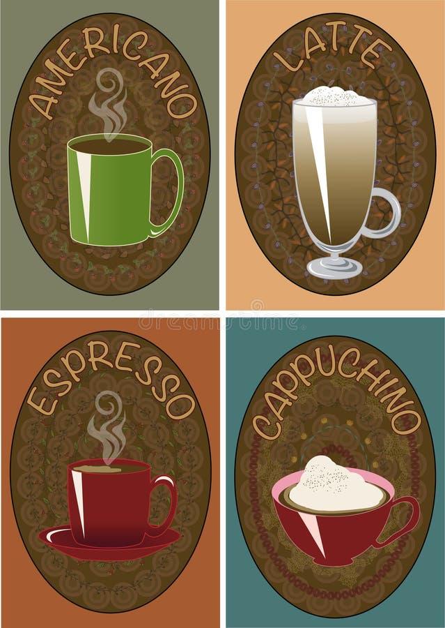 Cappuchino delle tazze di caffè, latte, caffè espresso, americano immagine stock libera da diritti