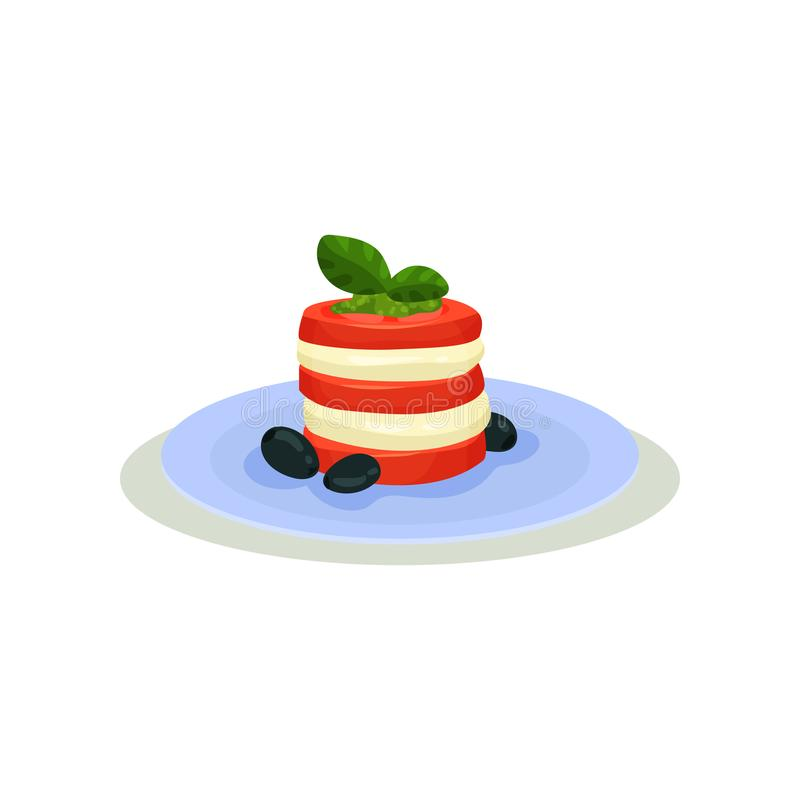 Caprese salad in blue ceramic plate. Traditional Italian snack made of sliced mozzarella cheese, tomatoes, basil leaves. And olives. Food theme. Element for stock illustration
