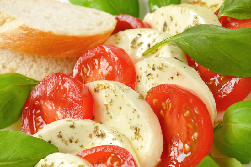 Caprese salad with bread stock photography