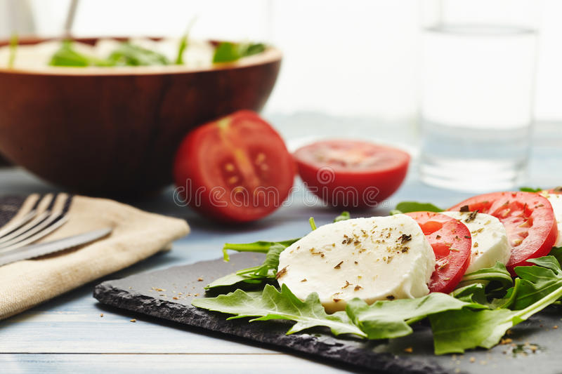 Caprese salad. With rocket instead of basil stock photo