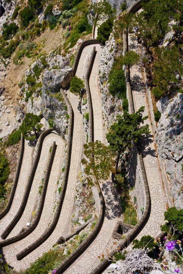 capri falezy zestrzelają ścieżki odprowadzenie zdjęcie stock