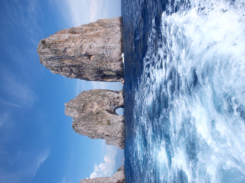 capri faraglioni意大利 免版税库存照片