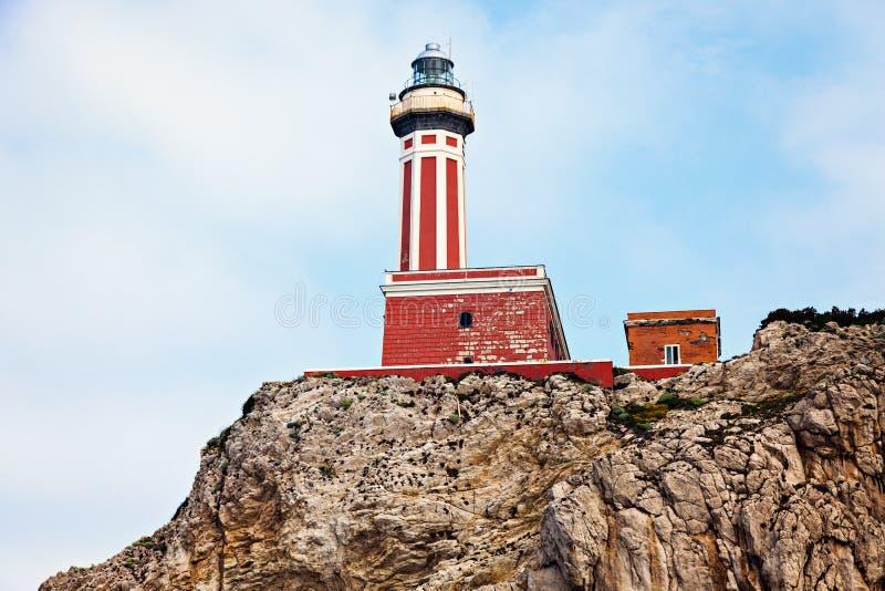 Capri Island Lighthouse. On the cliff. Capri, Campania, Italy royalty free stock photo