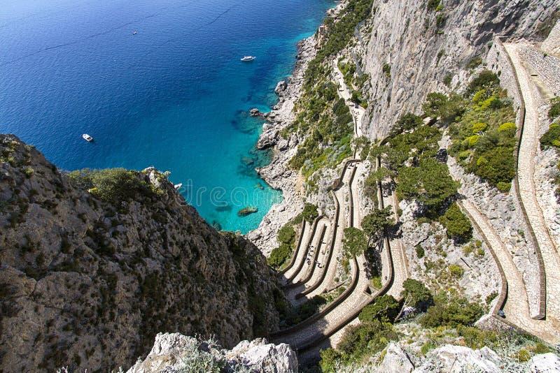 Capri island, via Krupp royalty free stock photography