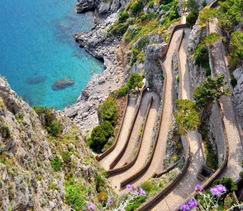 Capri Island Via Krupp. Famous Via Krupp on Capri island, Italy royalty free stock images