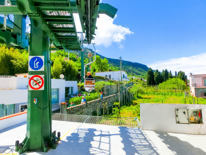 Capri, Italy - May 04, 2014: Cableway at island on a beautiful sunny day stock photos