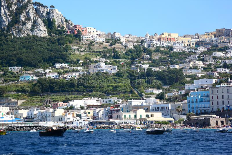 Capri, Italy - View from the water stock images
