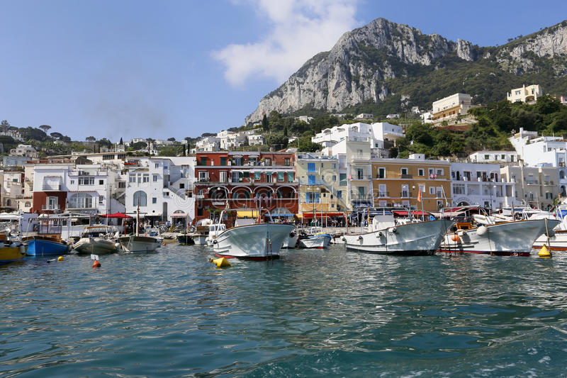 Capri marina italy. View of boat harbor or Marina Grande, on the Island of Capri, with buildings in the background, a major tourist destination near Naples and