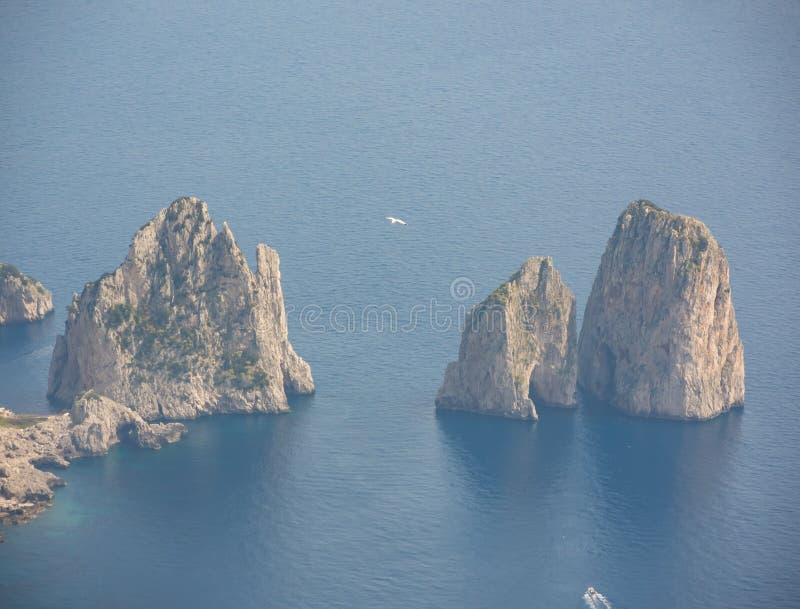 Capri Naples Piękny i słynny Faraglioni obrazy royalty free