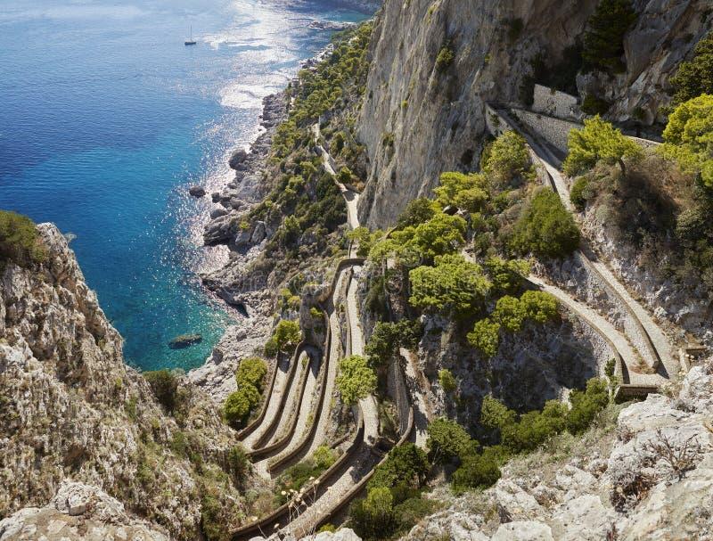Capri, przez Krupp od ogródów Augustus zdjęcie stock
