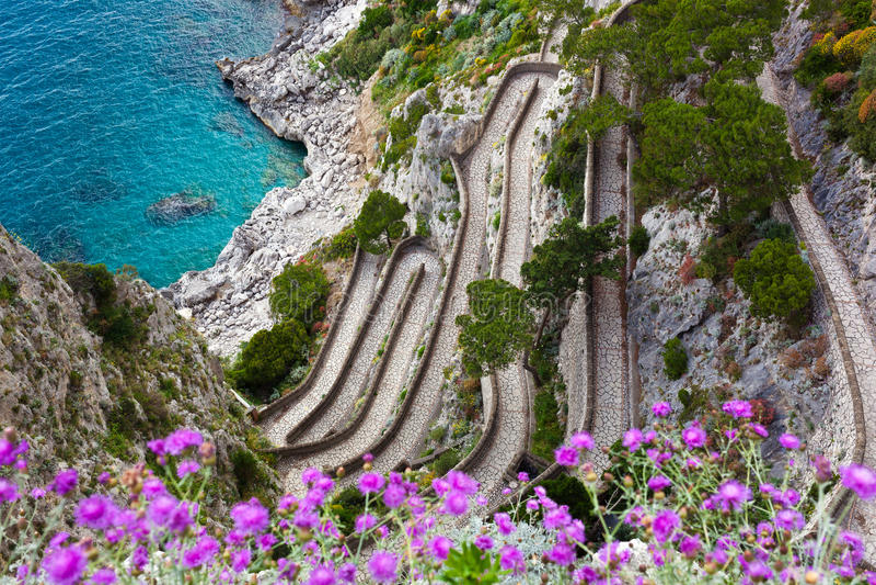 Capri, Via Krupp, Italy. Capri island, famous road Via Krupp on the mountains royalty free stock image