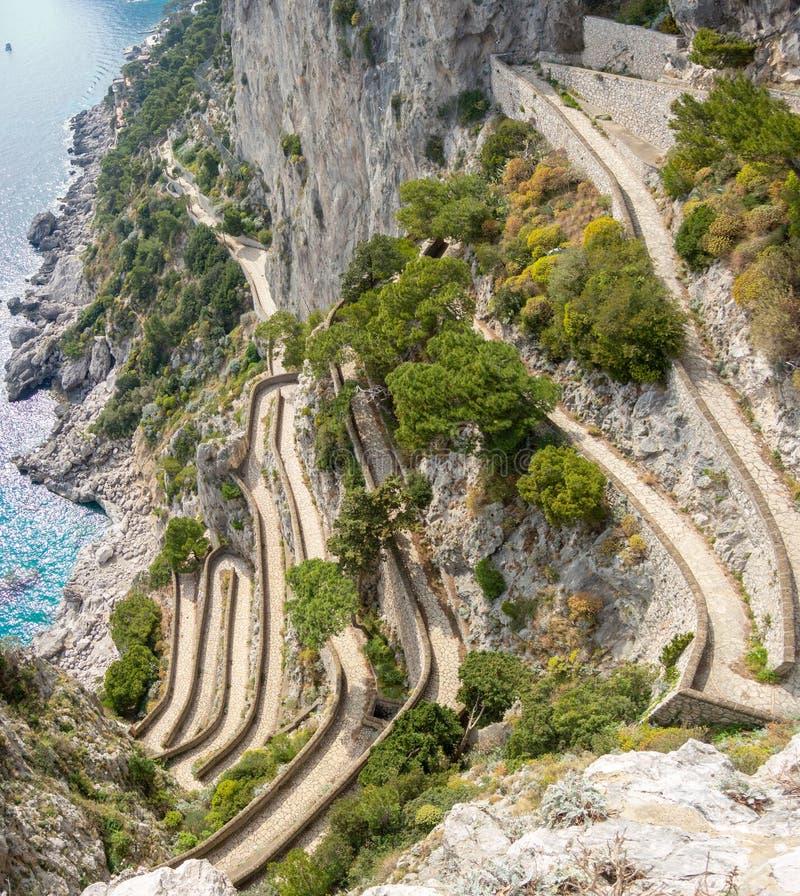 Capri, Włochy, Przez Krupp Ja jest historycznym brukującym footpath zdjęcie stock