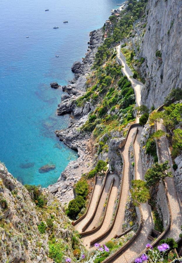 Capri wyspa Przez Krupp obraz royalty free