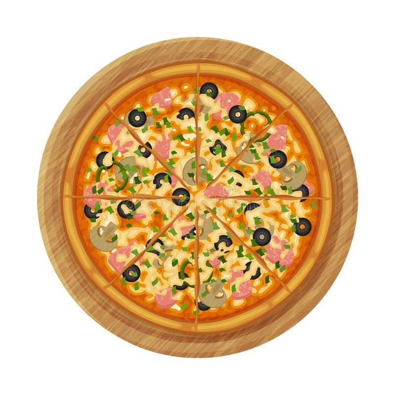 Capricciosa-Pizza mit Schinken, Oliven und Pilzen lizenzfreie abbildung