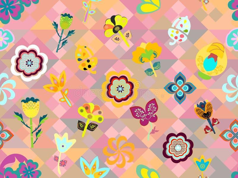 Capricieus kleurrijk bloemenontwerp over roze geometrische textuur in naadloze patroontegel vector illustratie