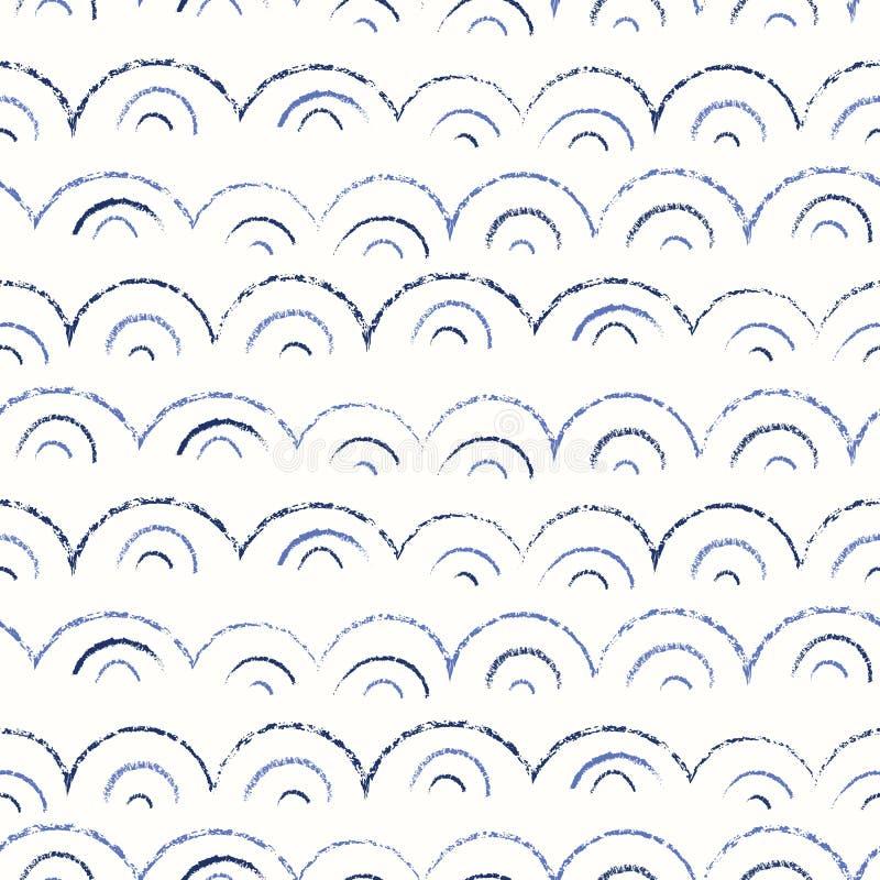 Capricieuze en Leuke Zeevaart Hand-Drawn met Kleurpotloden, Abstract Overzees Golven Vector Naadloos Patroon Zwart-wit textuur stock illustratie