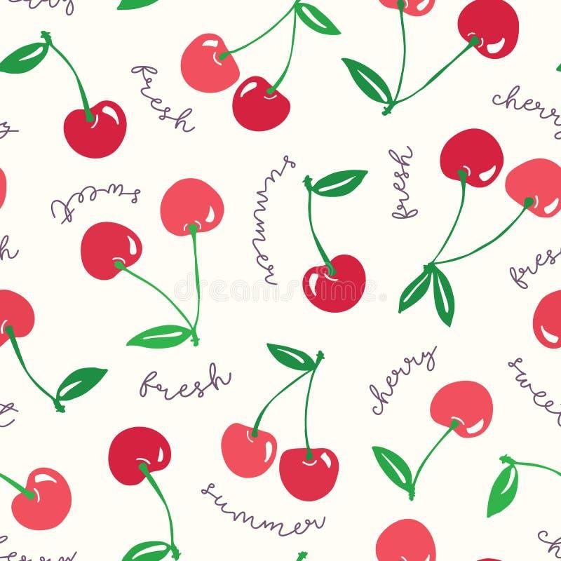 Capricieuze hand-drawn rode kersen en woorden vector naadloze patroonachtergrond Kleurrijke de zomervruchten typografie stock illustratie