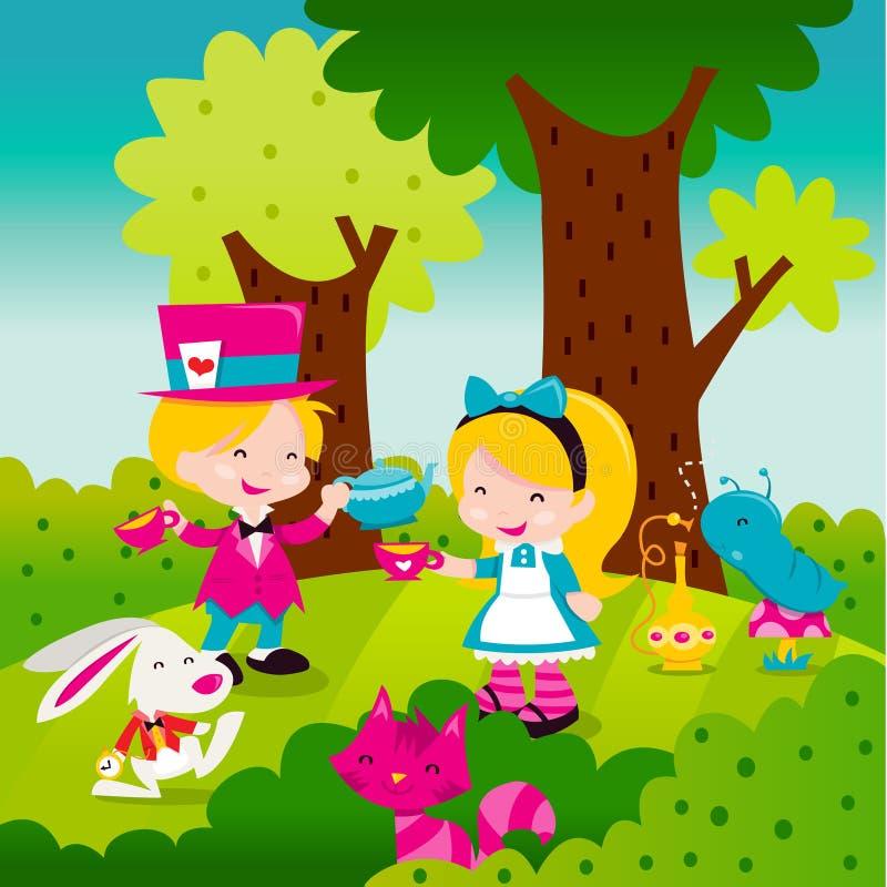Capricieuze retro Alice In Wonderland stock illustratie