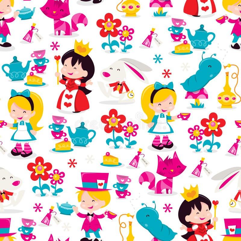 Capricieuze retro naadloze het patroonachtergrond van Alice In Wonderland vector illustratie