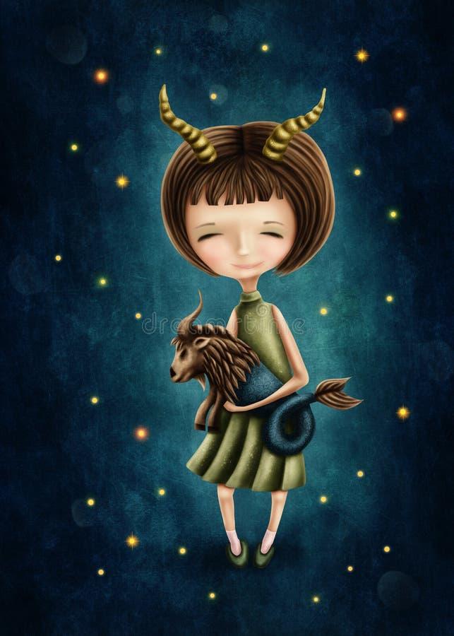 Capricorn astrologiczna szyldowa dziewczyna royalty ilustracja
