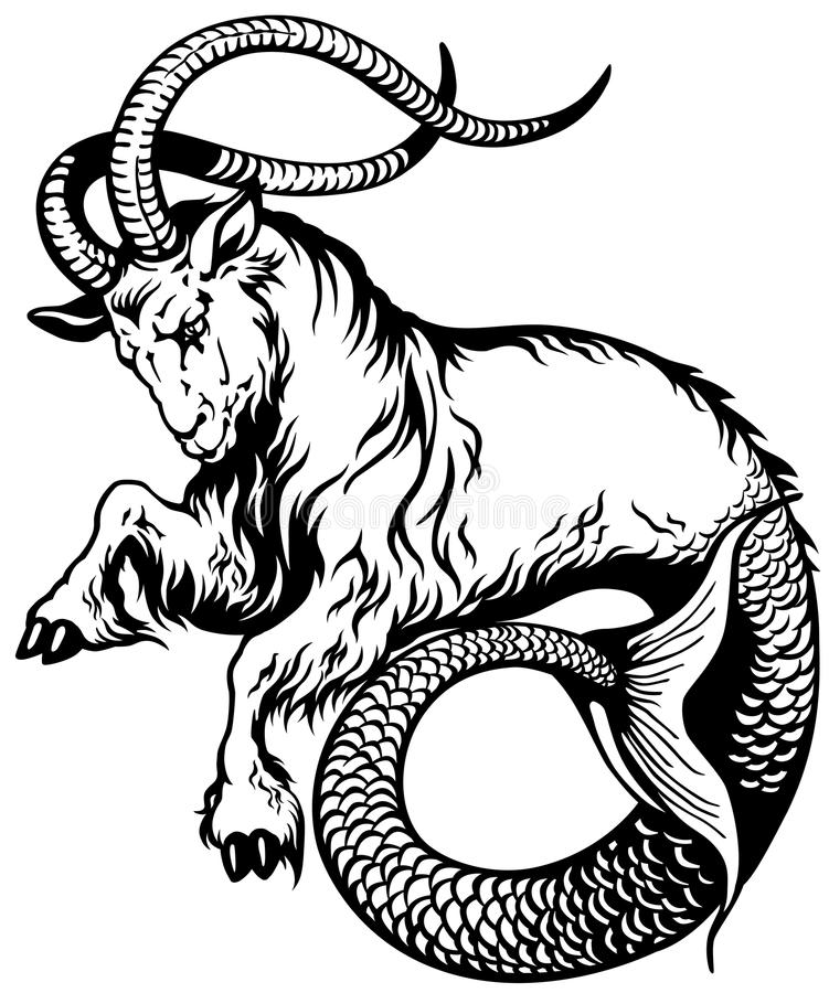 Capricorn black white. Capricorn astrological zodiac sign, black and white tattoo image stock illustration
