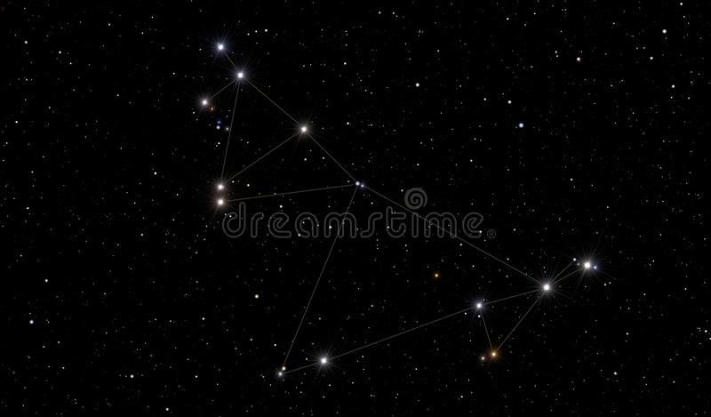 The Capricorn constellation. The image contains the Capricorn constellation in the starry space vector illustration