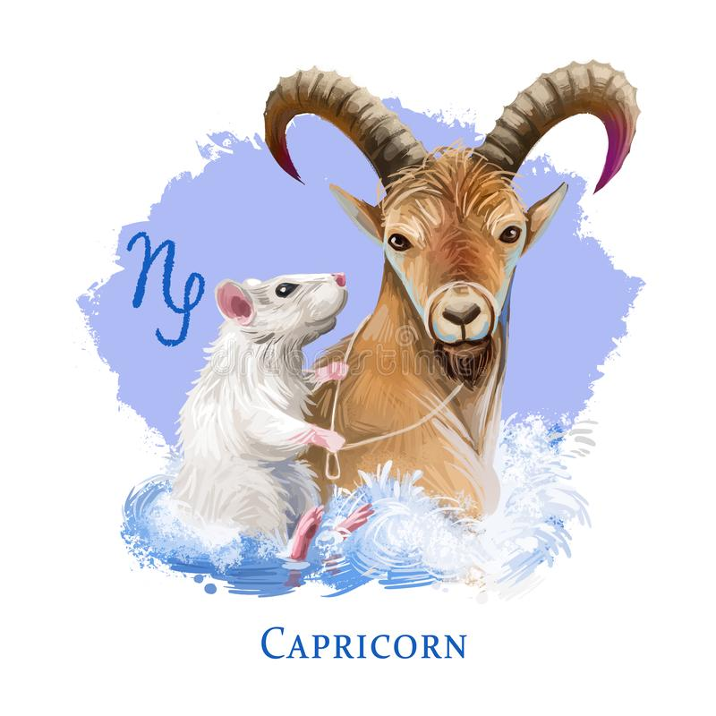Capricorn creative digital illustration of astrological sign. Rat or mouse symboll of 2020 year signs in zodiac. Horoscope earth. Element. Logo with sea-goat vector illustration
