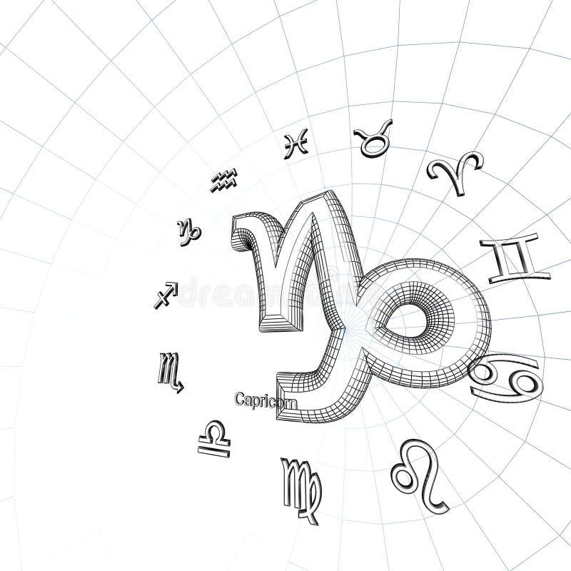 Capricorn della priorità bassa dello zodiaco illustrazione vettoriale